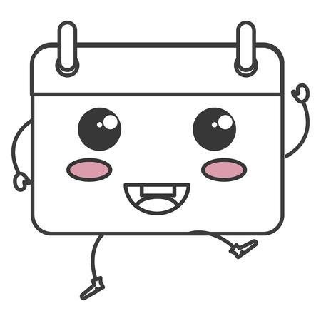 kalender herinnering kawaii karakter vector illustratie ontwerp