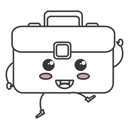 portfolio briefcase kawaii character vector illustration design