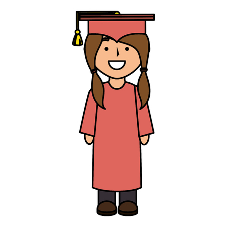 girl graduated avatar character vector illustration design