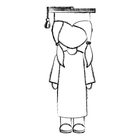 girl graduated avatar character vector illustration design