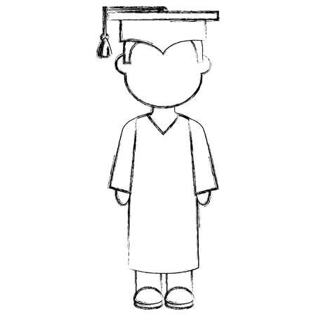 boy graduated avatar character vector illustration design