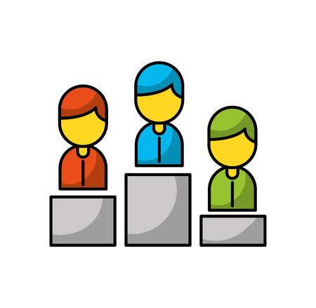 People avatars on podium illustration design 向量圖像