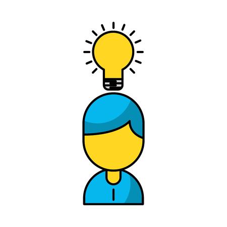 Businessman avatar with bulb vector illustration design Illustration