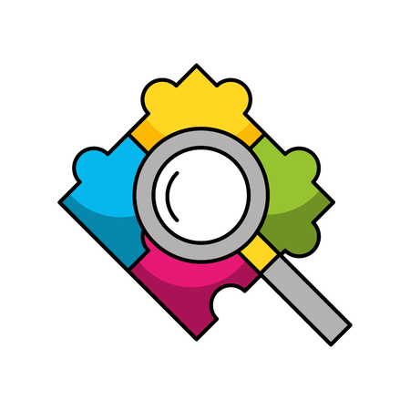 Puzzle pieces with magnifying glass vector illustration design