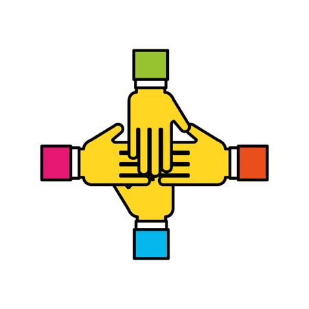 Hands human teamwork icon vector illustration design