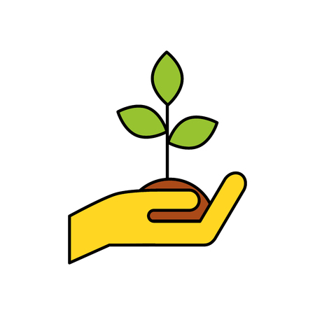 helpful: Human hand with plant vector illustration design