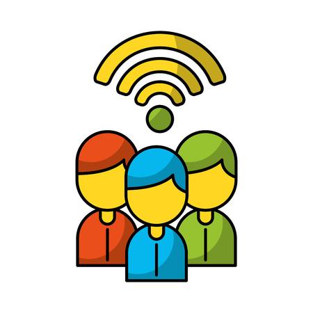 Teamwork people avatars with wifi signal vector illustration design