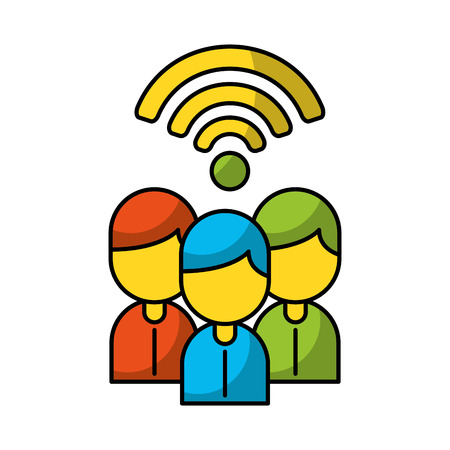 Teamwork people avatars with wifi signal vector illustration design Stock Vector - 84581651