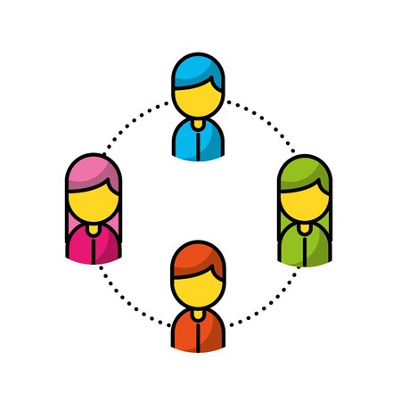 Teamwork people avatars network vector illustration design Illustration