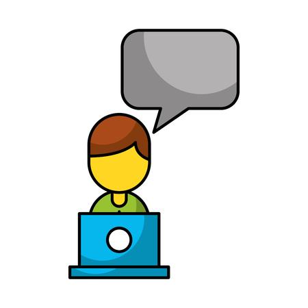 representative: Businessman avatar with laptop vector illustration design Illustration