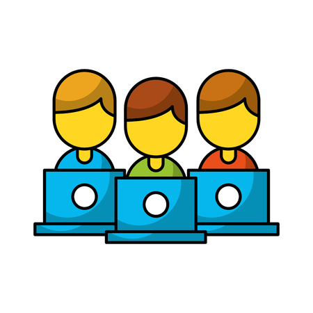 Teamwork people avatars with laptops vector illustration design