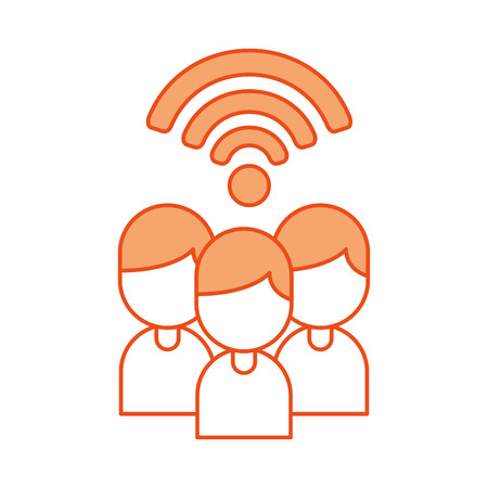 teamwork people avatars with wifi signal vector illustration design