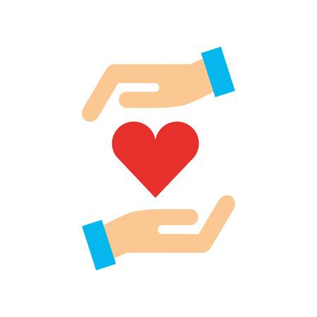 Un manos humanas con el corazón entre el diseño de ilustración vectorial Foto de archivo - 84597922