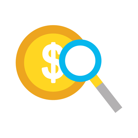 coin with magnifying glass icon vector illustration design