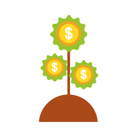 A plant with gears machine isolated icon vector illustration design.