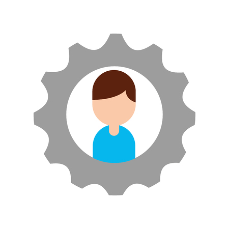 Businessman profile in avatar with gear symbol vector illustration design