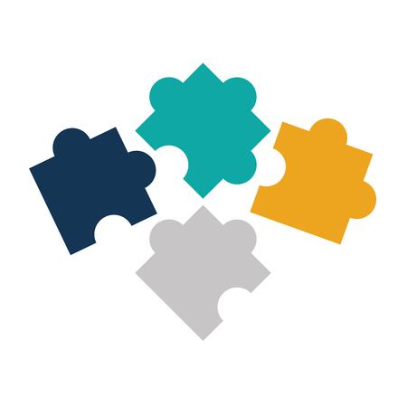 퍼즐 조각 격리 된 아이콘 벡터 디자인의 다채로운 실루엣 그림 일러스트