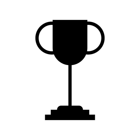 Black silhouette trophy cup isolated icon vector illustration design