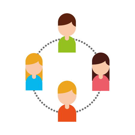 Teamwork avatars people  network vector illustration design