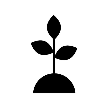 Black silhouette plant ecology care concept isolated icon vector illustration design