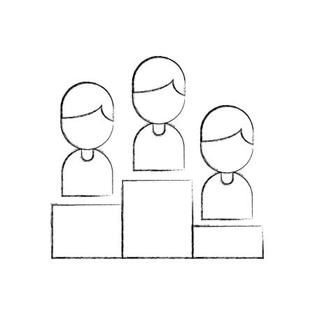 Teamwork people avatars on podium vector illustration design