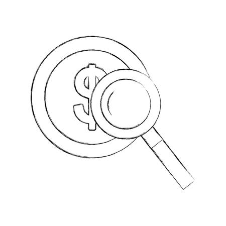 Moneda con diseño de ilustración de vector de icono de lupa Foto de archivo - 84586183