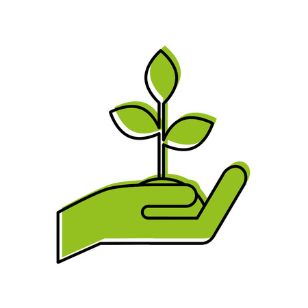 hand human with plant vector illustration design Illustration