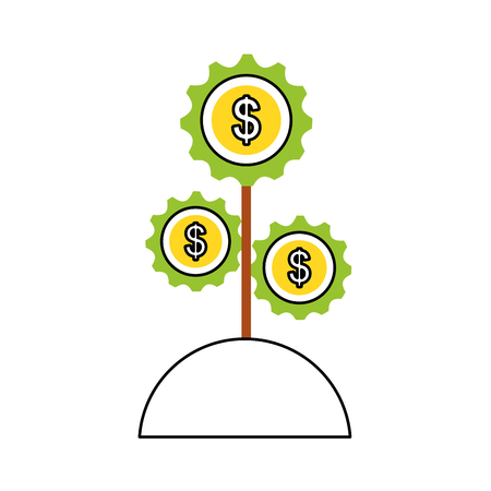 plant with gears machine isolated icon vector illustration design