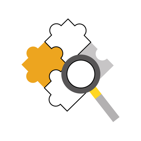 coordinated: puzzle pieces with magnifying glass vector illustration design