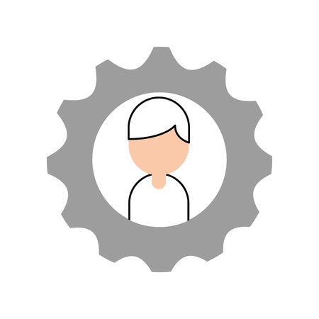 Businessman avatar with gears vector illustration design