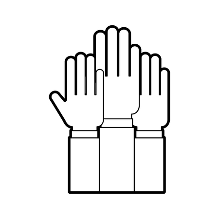 Hands human teamwork icon vector illustration design