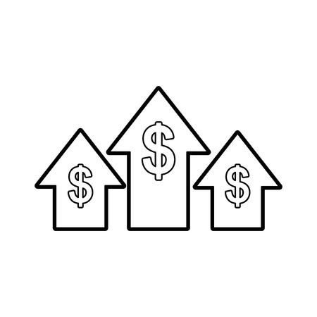 Arrow up with money symbol vector illustration design