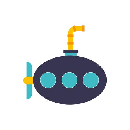 바다 잠수함 격리 된 아이콘 벡터 일러스트 레이 션 디자인 일러스트