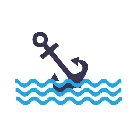 Anchor maritime with waves vector illustration design Illustration