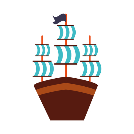 Antique sailboat isolated icon vector illustration design