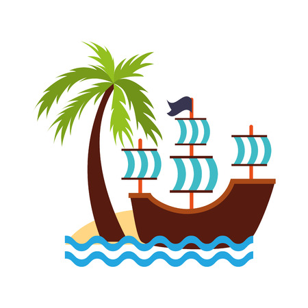 Antique sailboat on the beach vector illustration design Ilustrace