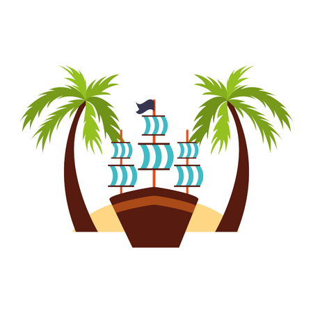 Antique sailboat on the beach vector illustration design Çizim