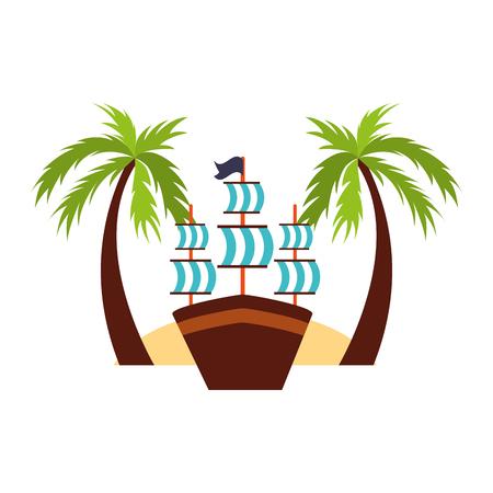 Velero antiguo en el diseño de la ilustración del vector de la playa Foto de archivo - 84586509