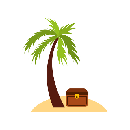 vintage furniture: Wooden trunk on the beach vector illustration design