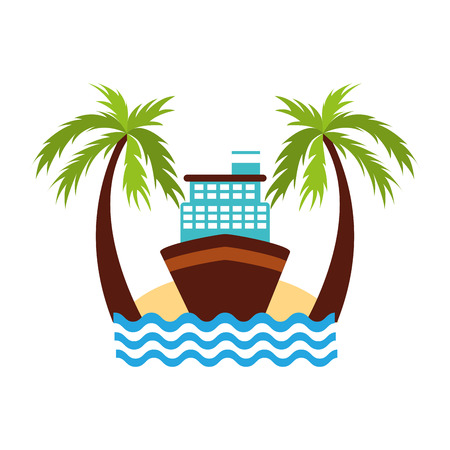 Cruise boat on the beach vector illustration design Banco de Imagens - 84586519