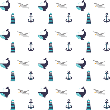 Maritime icons pattern background vector illustration design