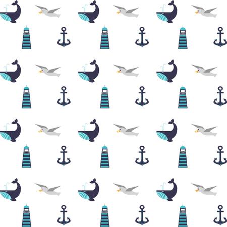 Maritime icons pattern background vector illustration design