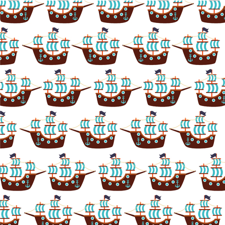 Antique sailboat pattern background vector illustration design