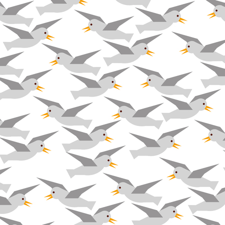 Gulls flying pattern background vector illustration design Ilustrace