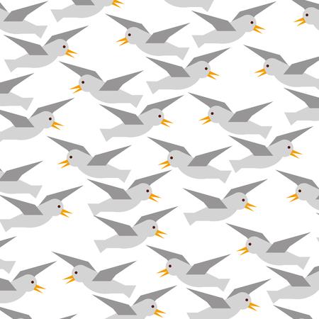 Gulls flying pattern background vector illustration design Illustration