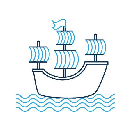 Antique sailboat isolated icon illustration design.