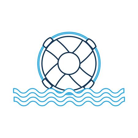 Bagnino di galleggiante con l'illustrazione di onde di mare. Archivio Fotografico - 84595837