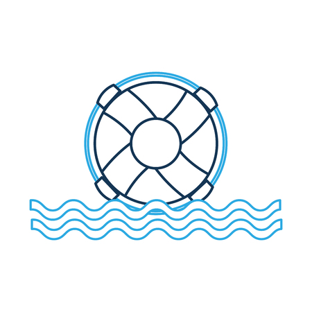 Float lifeguard with sea waves illustration design.