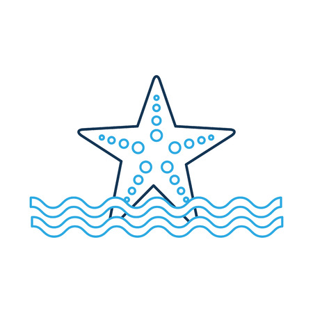 Starfish sea life with waves illustration design.