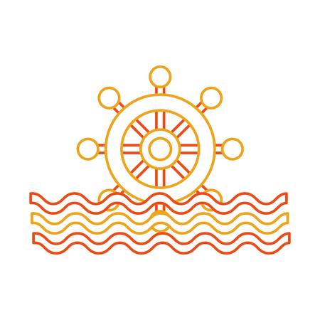 Boat timon with sea waves illustration design.